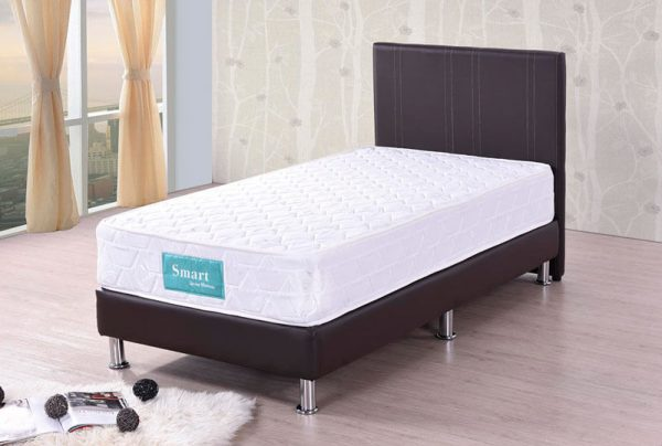 Dark brown divan bed smart spring mattress univonna for Divan only no mattress