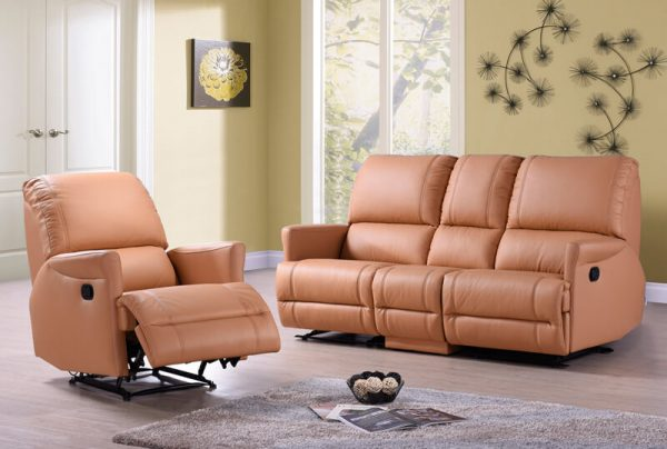 Javier Pu Leather Recliner Sofa
