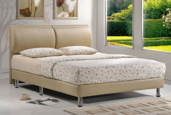 Beige bed frame