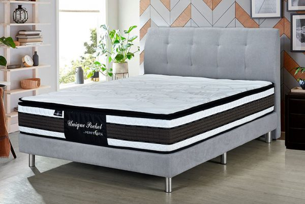 Grey bed frame with Unique pocket mattress