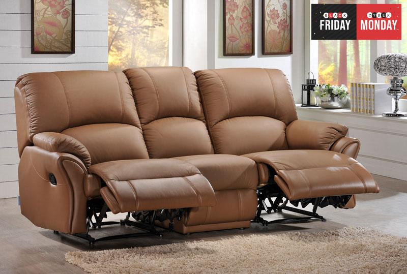 Vex Full Leather 3 Seater Recliner Sofa